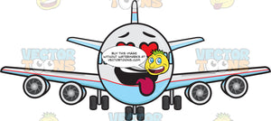 Love Struck Jumbo Jet Plane With Hanging Tongue Emoji