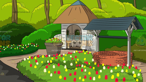 Lush Garden Gazebo Background