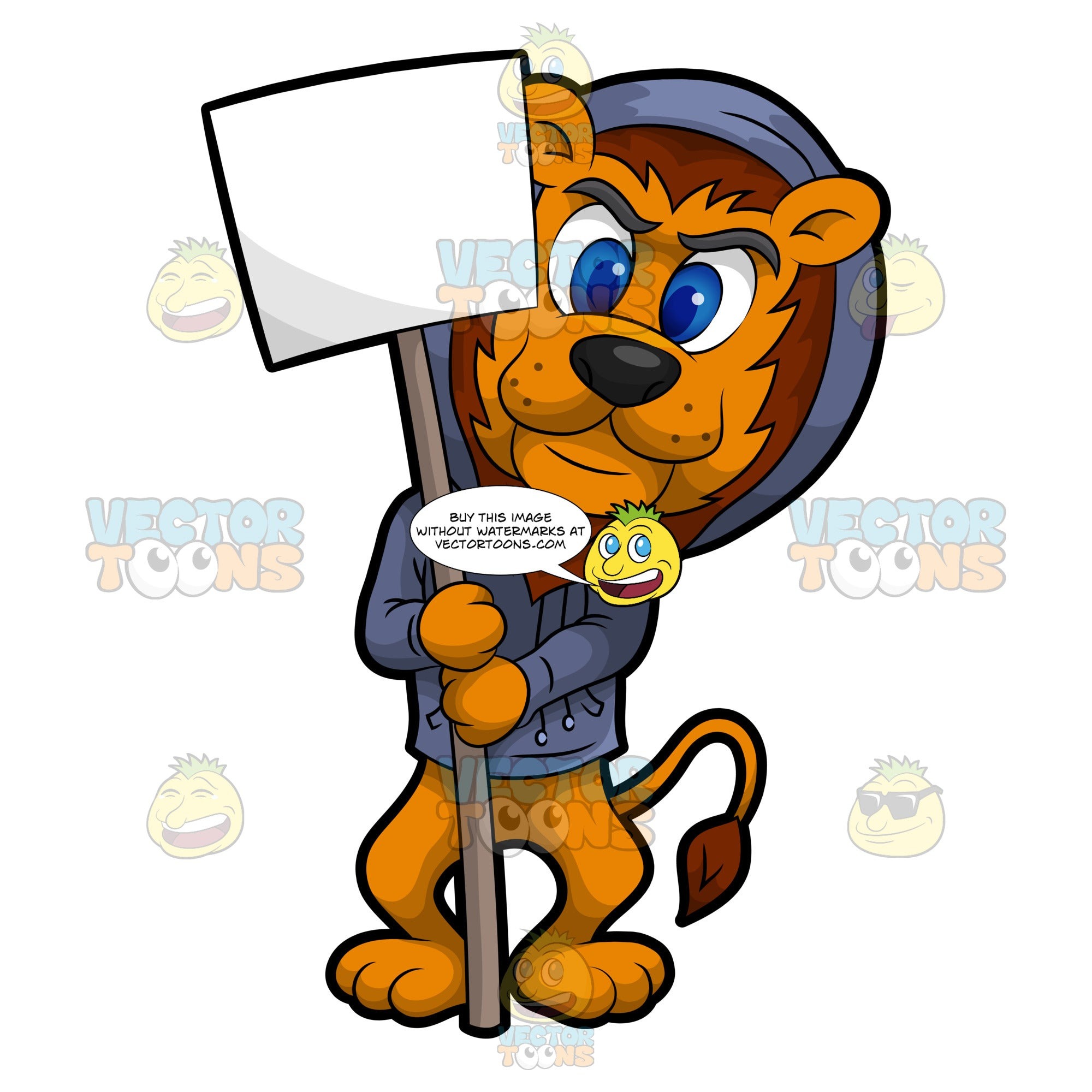 Luther The Lion Holding A Signboard