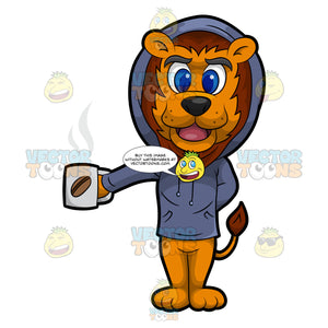 Luther The Lion Drinking Coffee