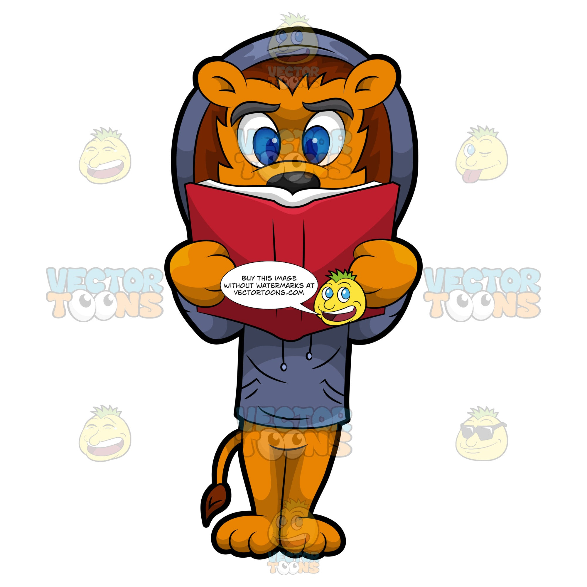Luther The Lion Reading A Book