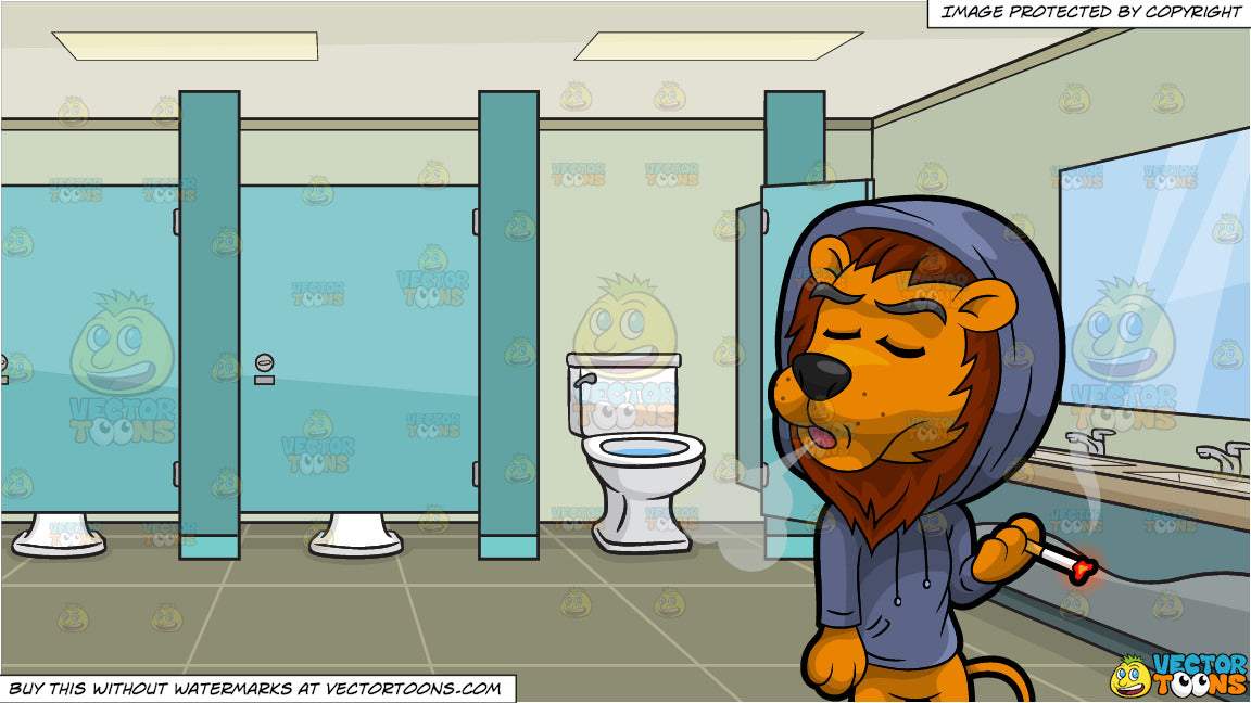 Fantastic Luther The Lion Smokes A Cigarette And A Public Bathroom With Cubicles Background Ocoug Best Dining Table And Chair Ideas Images Ocougorg