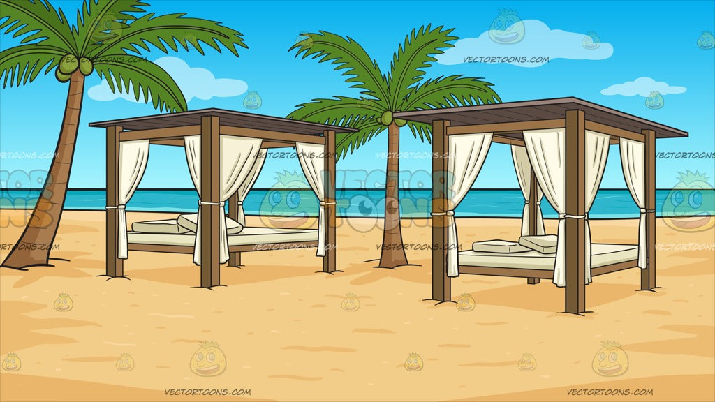 Luxury Cabanas On A Beach Background
