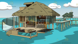Luxury Hotel Room On Stilts Background
