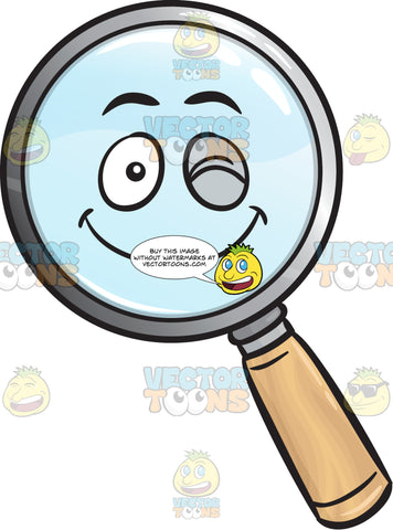 Winking Magnifying Glass Emoji