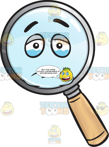 Tearful Magnifying Glass Emoji