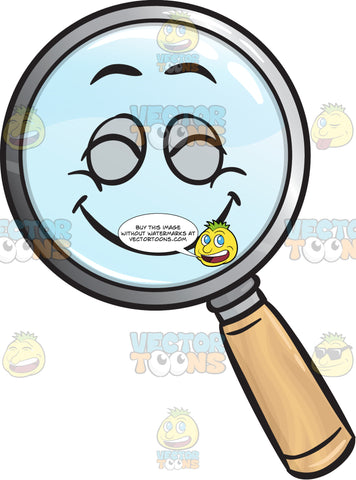 Pleasantly Contented Magnifying Glass Emoji