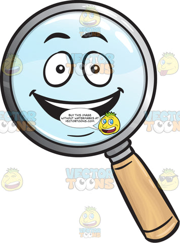 Delighted Magnifying Glass Emoji