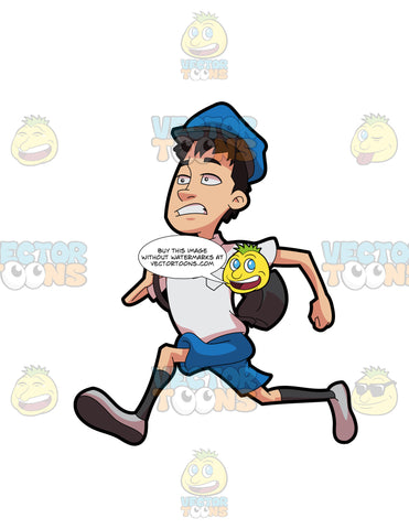 A Postal Boy Running To Deliver The Mail
