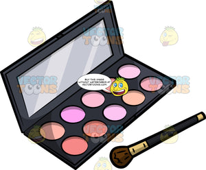 A Palette Case Of Different Blush Colors