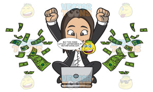 A Happy Woman Delighted With All The Money She Is Making Online