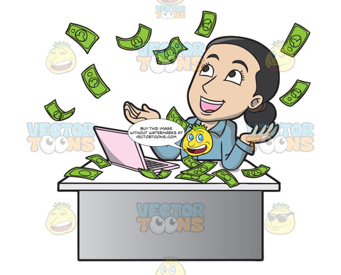 A Woman Reveling In The Money Raining Down On Her