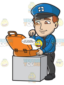 A Male Airport Security Guard Inspecting A Suitcase