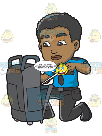 A Black Male Airport Security Guard Inspecting Some Luggage