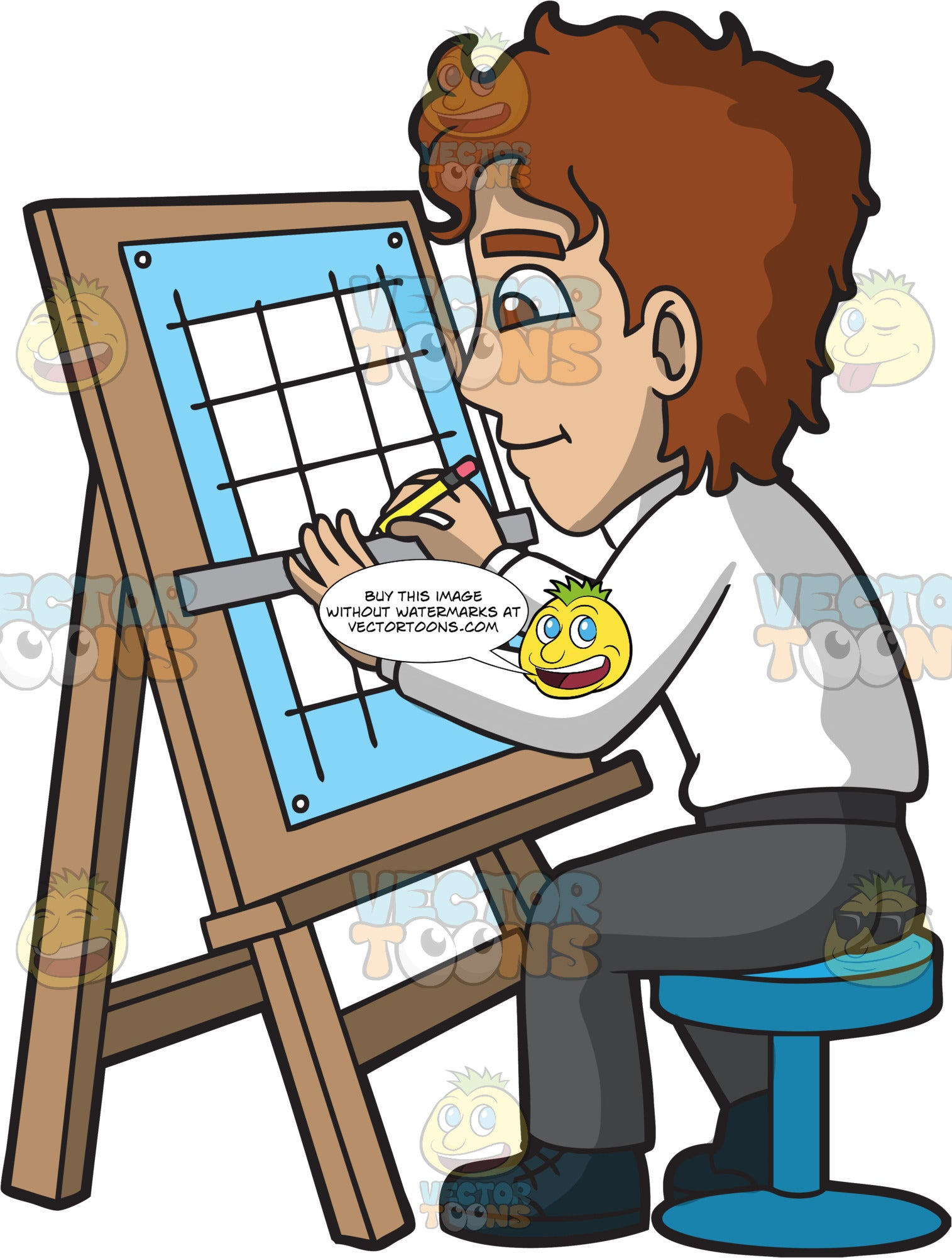 A Male Architect Drafting A Grid On An Easel