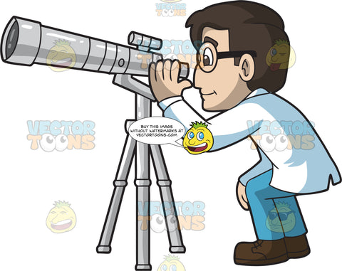 A Male Astronomer Looking Through A Telescope