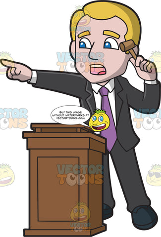 A Male Auctioneer Recognizing A Bid