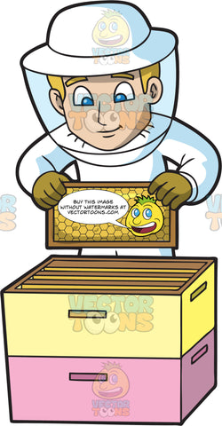 A Curious Male Beekeeper Pulling Out A Honey Comb Frame