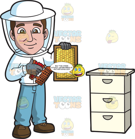 A Delighted Male Beekeeper Smoking A Honeycomb Frame