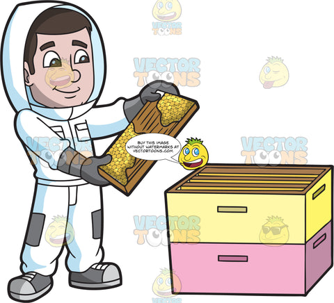 A Happy Beekeeper Checking A Honeycomb Frame