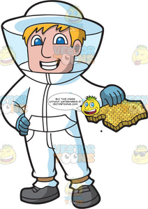A Male Beekeeper Holding A Honeycomb