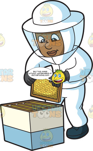 A Happy Black Beekeeper Checking On His Honey Combs