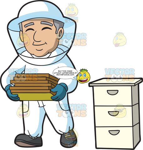 A Delighted Male Beekeeper Carrying Honey Comb Frames