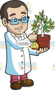 A Male Botanist Observing A Plant