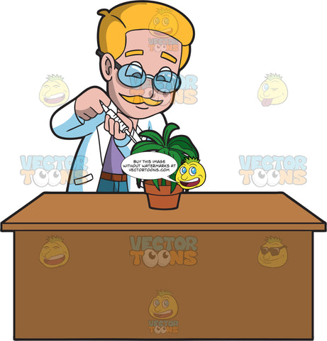 A Male Botanist Injecting A Serum Into A Plant