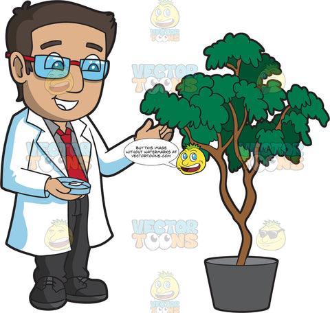 A Male Botanist Inspecting A Flourishing Plant