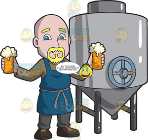 A Bald Male Brewer Holding Two Glasses Of Beer
