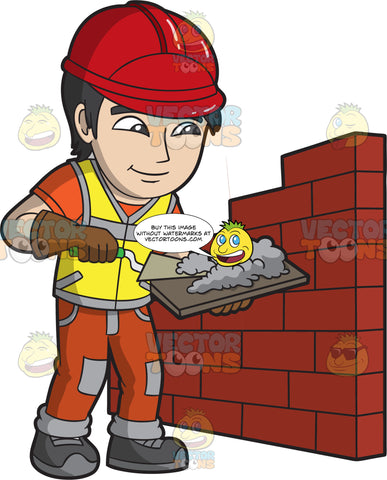 A Male Bricklayer Mixing Concrete