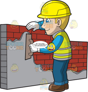 A Male Bricklayer Smoothing Cement On A Brick Wall