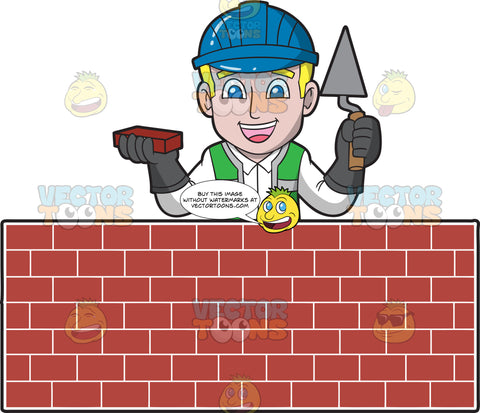A Happy Male Bricklayer