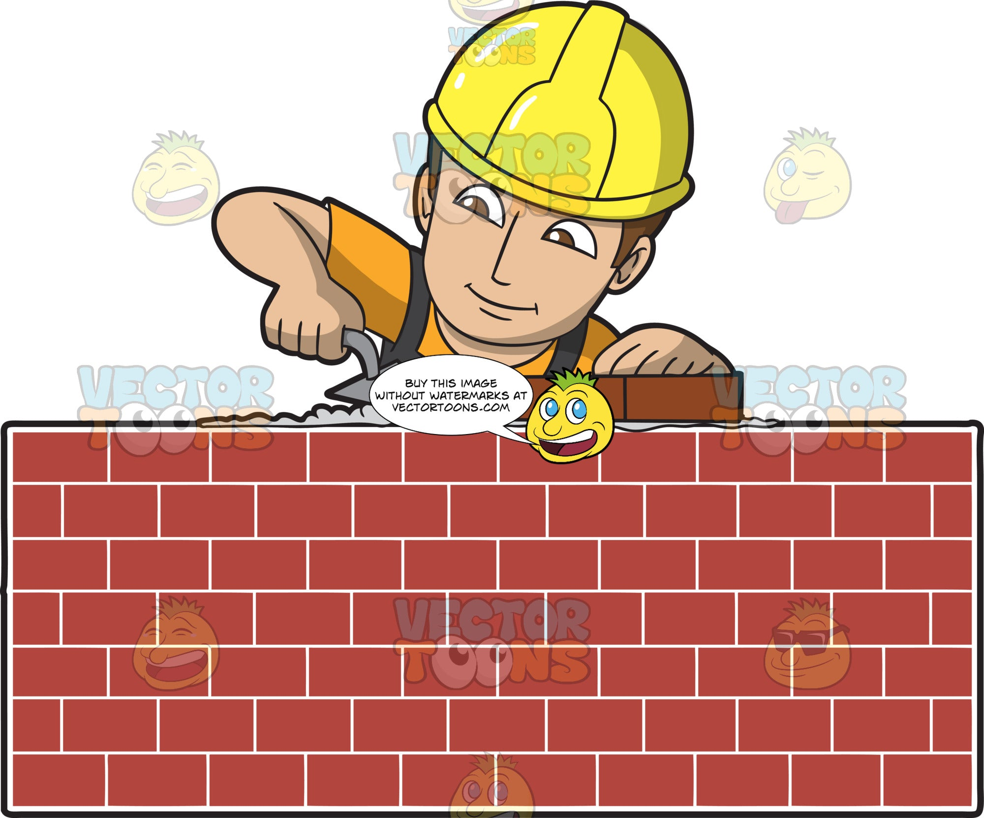 A Male Bricklayer Building A Wall