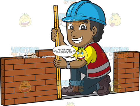 A Happy Male Bricklayer Measuring A Wall