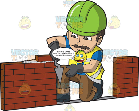 A Focused Male Bricklayer