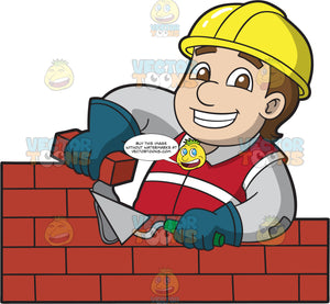 A Chubby Male Bricklayer Working On A Wall