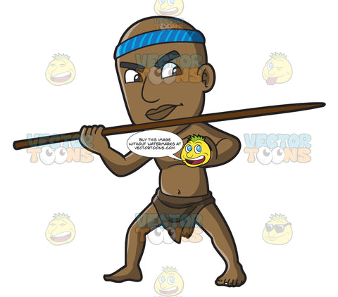 A Male Bushman Throwing A Spear