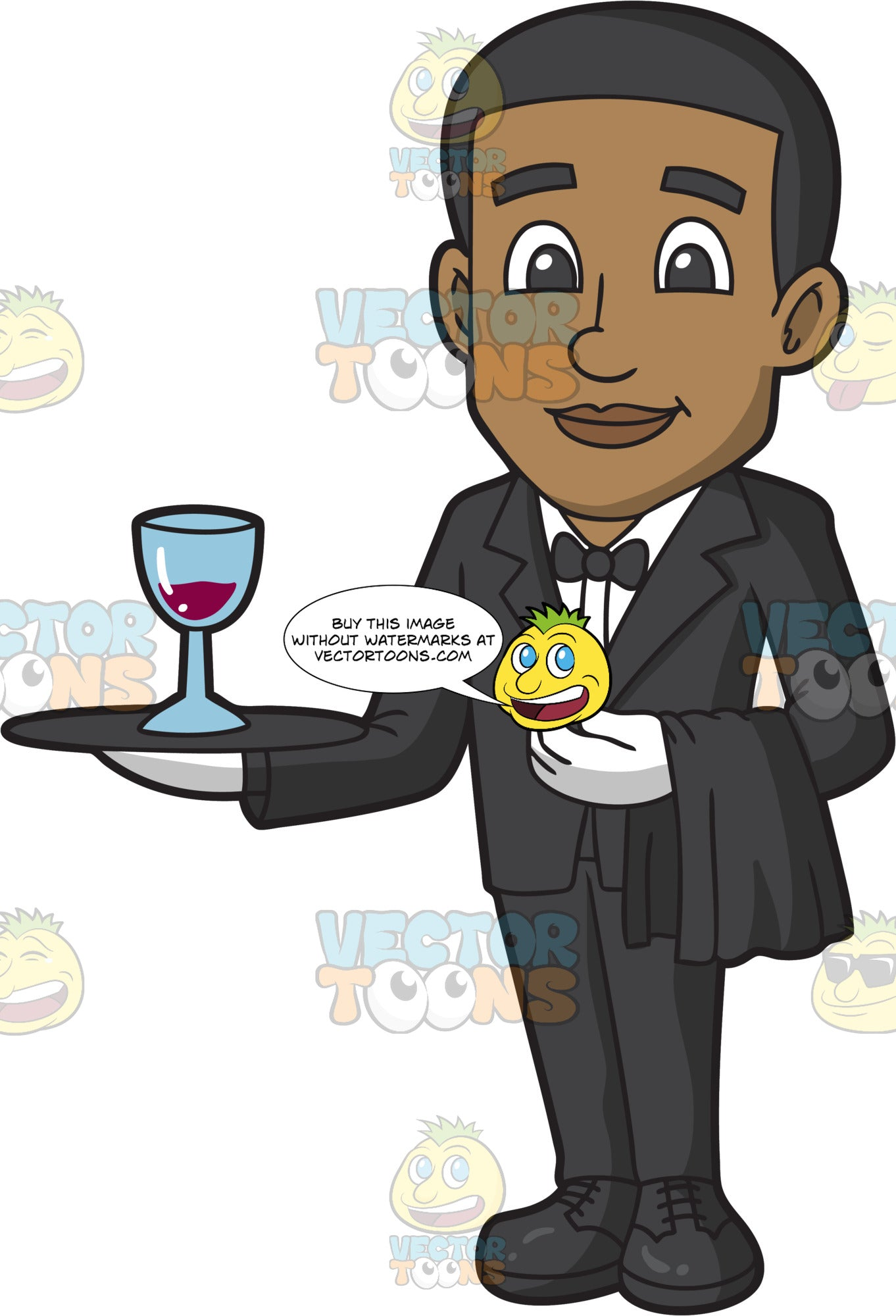 A Smiling Black Male Butler Holding A Tray With A Glass Of Red Wine