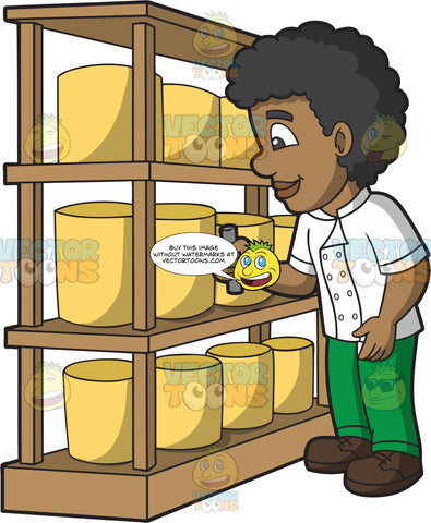 A Cheese Maker Inspecting His Cheese Products