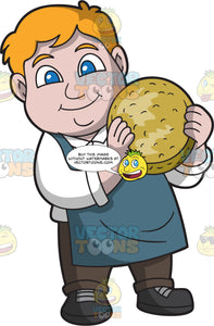 A Chubby Man Lifting A Cheese Truckle That He Made