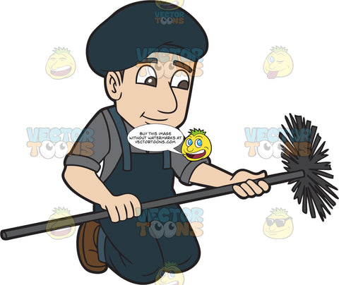 A Male Chimney Sweep At Work