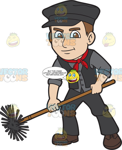 An Male Chimney Sweep Using A Chimney Brush