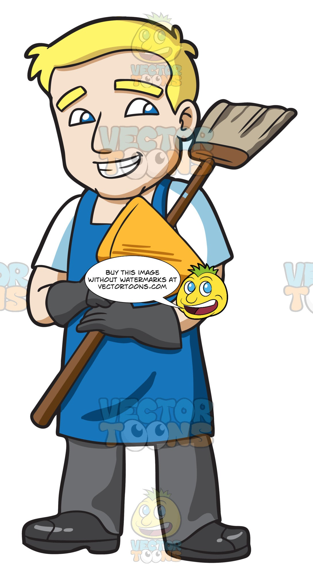 A Janitor Holding A Broom And Dustpan