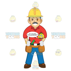 Make Construction Worker With A Mustache Hard Hat And Hands On His Tool Belt