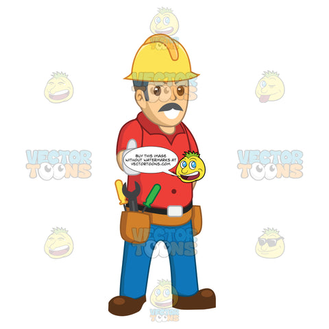 Make Construction Worker With A Mustache Giving The Thumbs Up
