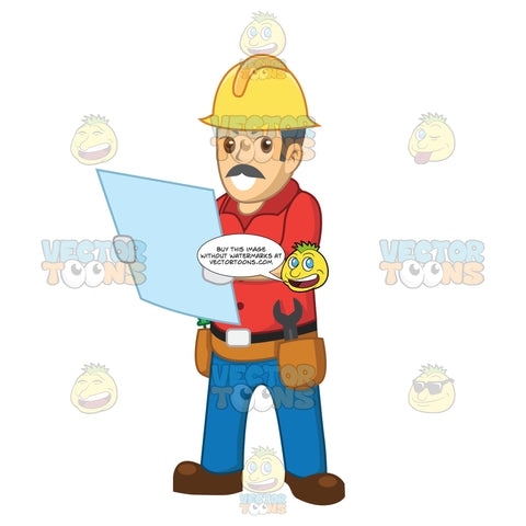 Male Construction Worker Looking At Blueprints