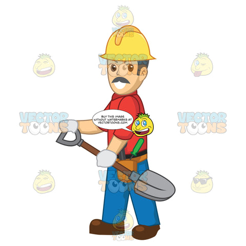 Male Construction Worker Carrying A Shovel
