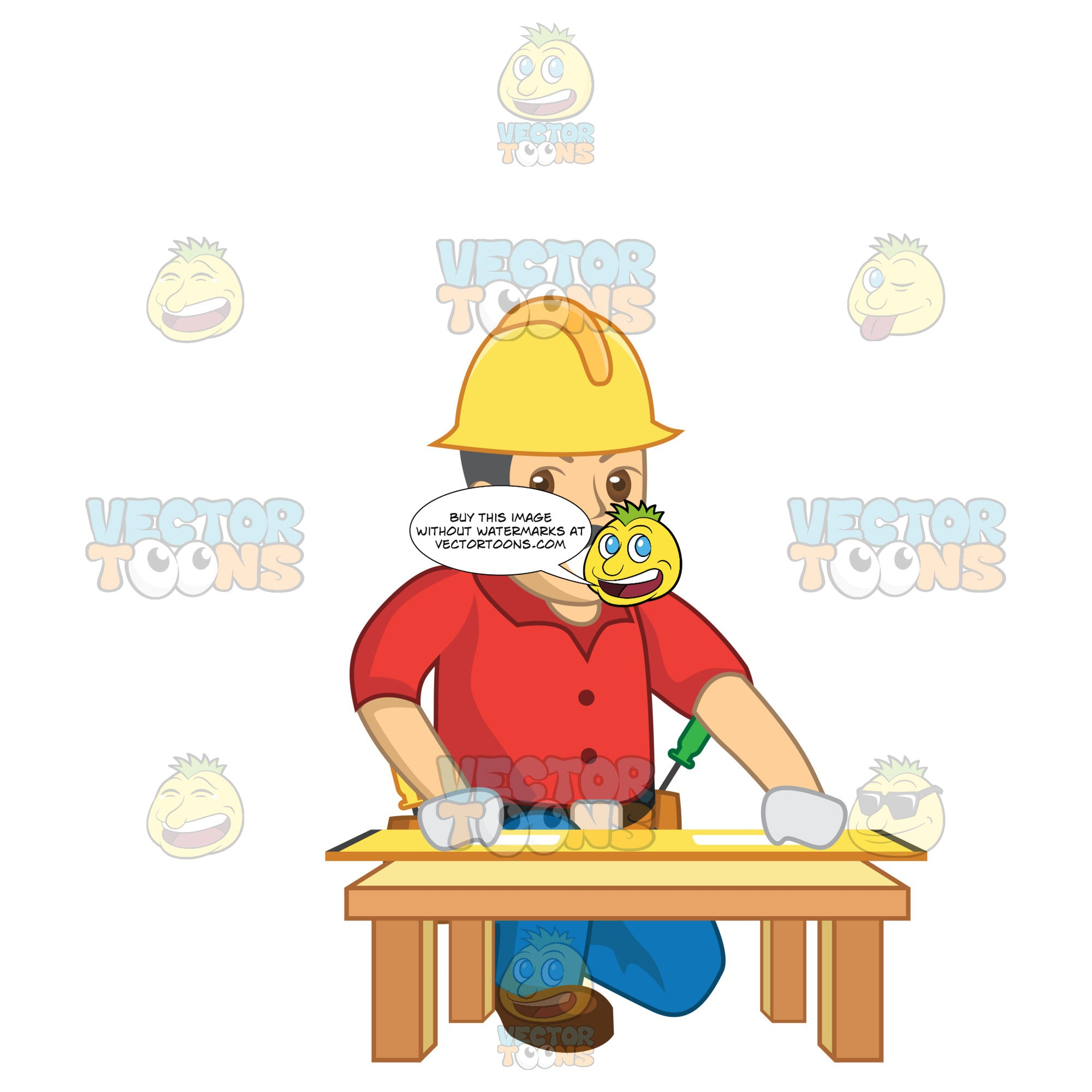 Construction Worker Kneeling Down And Looking At Building Plans
